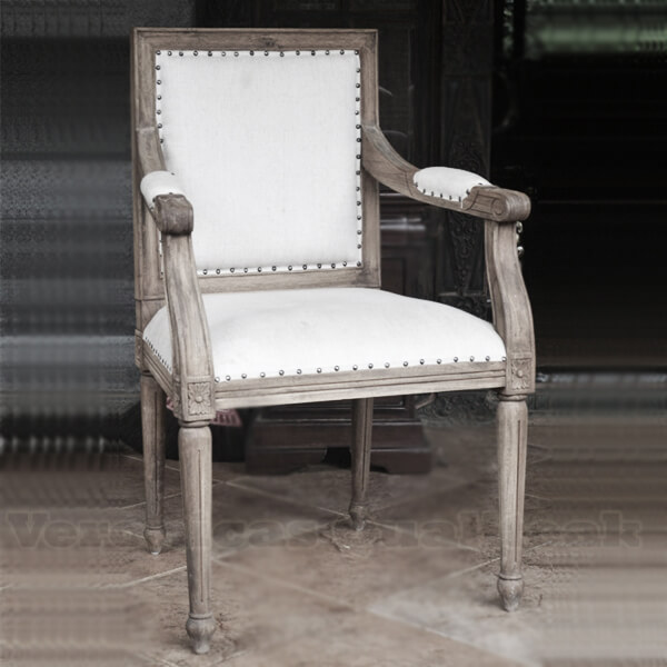 Antique Distress Upholstered Dining Armchairs
