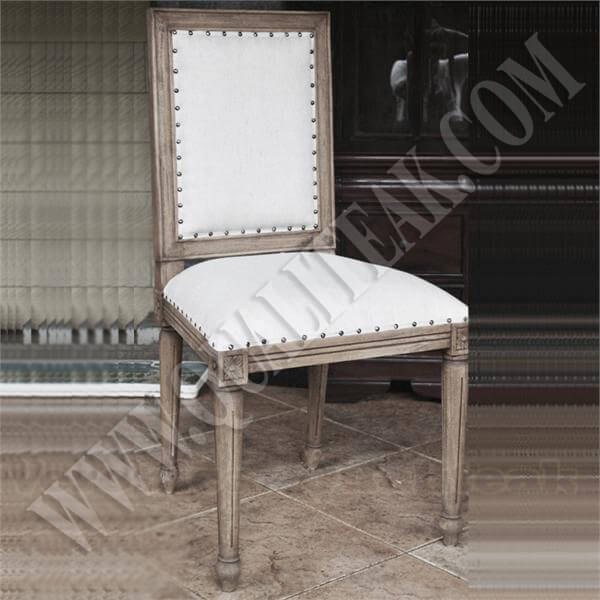 Antique Distressed Linen Upholstered Dining Chair