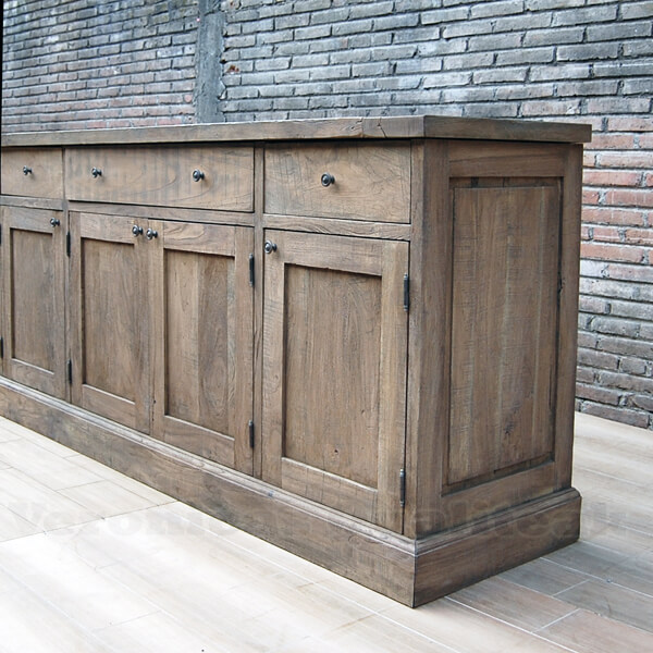 Antique Distressed Teak Wood Sideboard