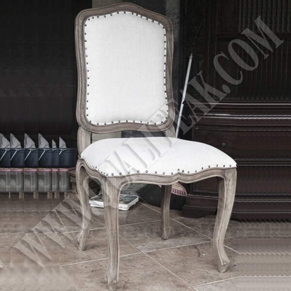 Antique French Country Distress Curved Back Dining Chairs