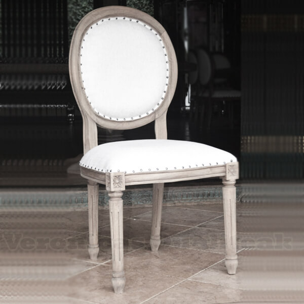 Antique French Country Distress Oval Dining Chair