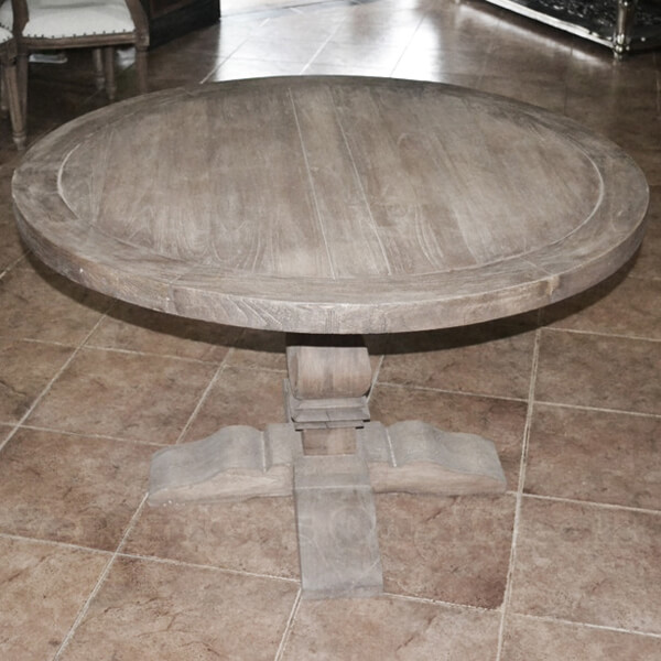 Antique French Country Distressed Round Dining Table
