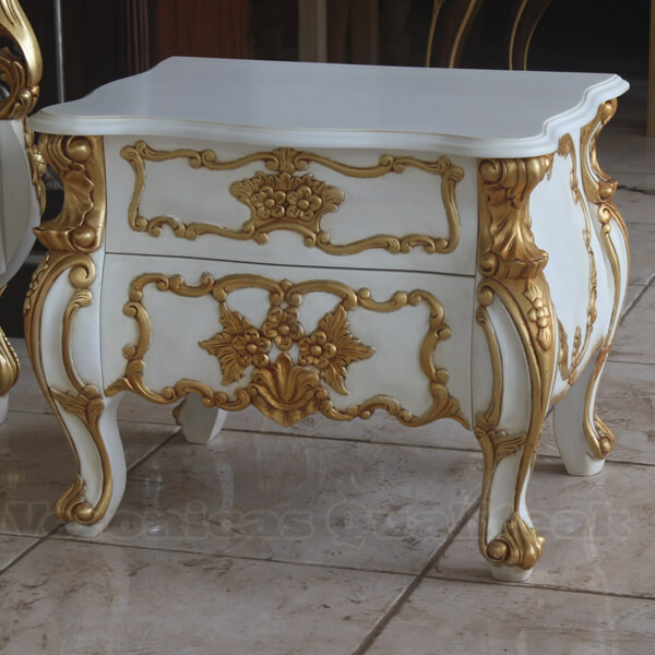 Antique White Painted Racoco Bedside Gilded Carving
