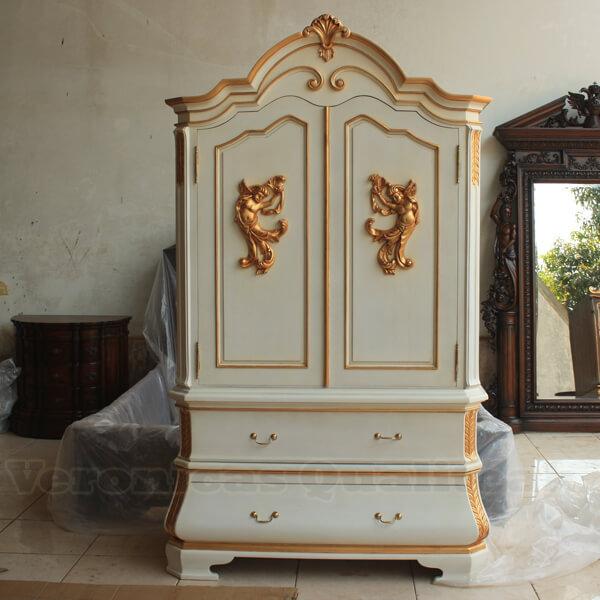Antique French Furniture Wardrobe Angel Carvings