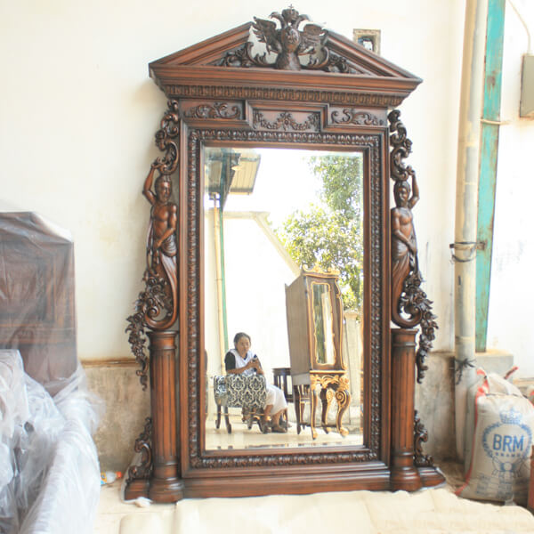 Antique Victorian Cheval Mirror Heavy Carved