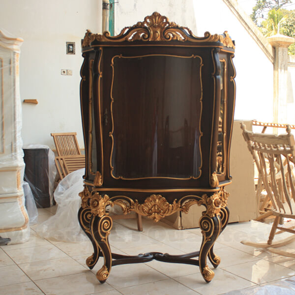 Antique Victorian Gilded Mahogany Display Cabinets