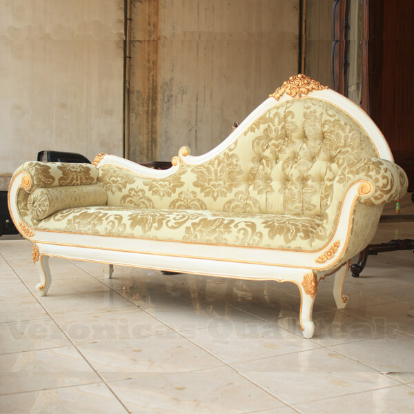 Antique White Painted Carved Sofa Gilded Decor