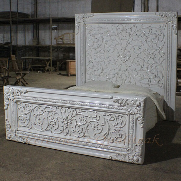 Antique White Painted Heavy Carved Bed, Florence