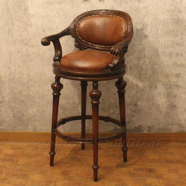 Antique Swivel Wooden Bar Stool Leather Upholstered