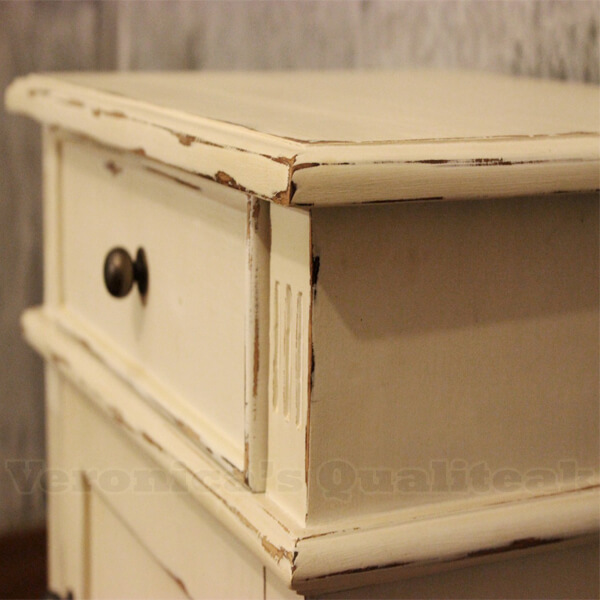 Alijah Bedside With Antique White Paint Distressed