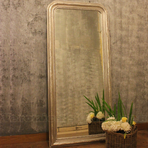 Antique Large Mirror With Silver Leaf Finish, Jasmine
