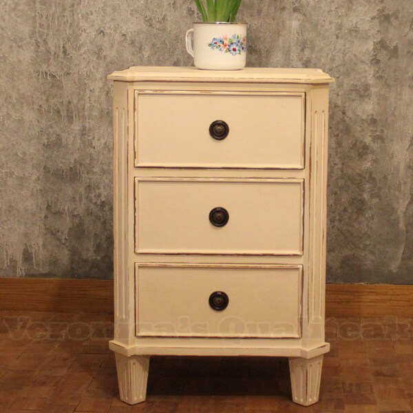 Antique White Paint Finish Mahogany Bedside, Wilma Series