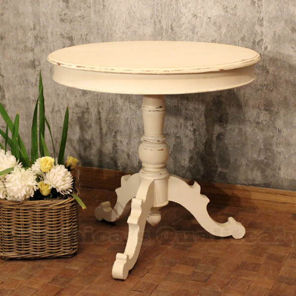 Antique White Paint Round Table, Ingrid Series