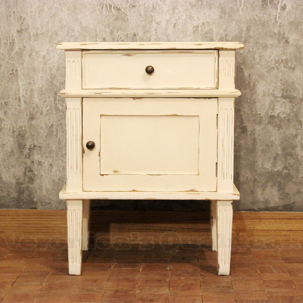 Bedside Table With Antique White Paint Finish, Alijah