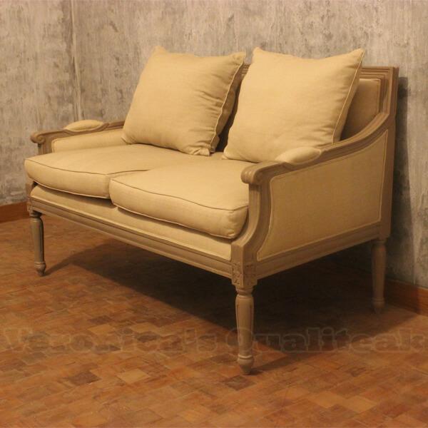 Fredina Sofa With Antique Gray Paint Finish