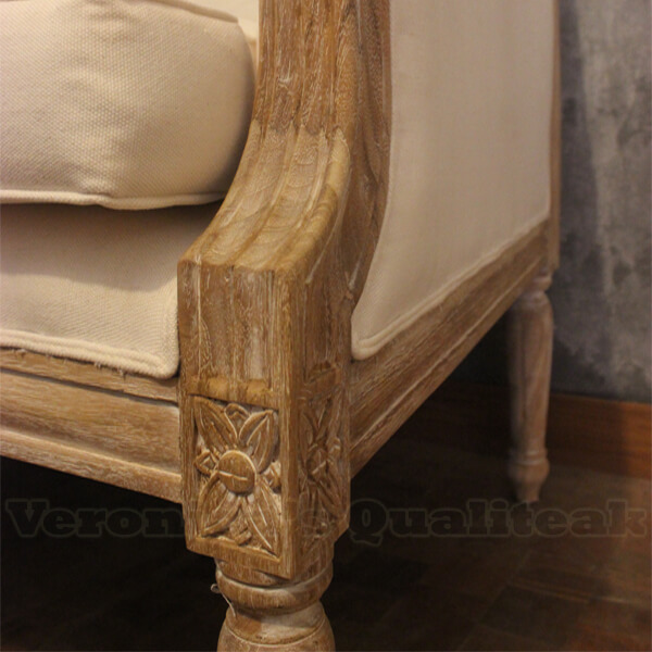 Fredina Sofa With Antique White Paint Finish Distressed Detail