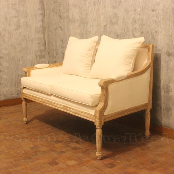 Fredina Sofa With Antique White Paint Finish