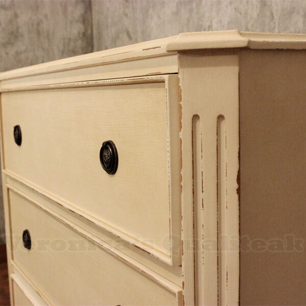 Wilma white distressed painted antique bedside detail