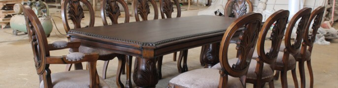 Classic Dining Table Design With Upholetered Armchairs