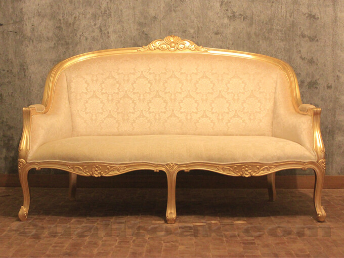 Antique Gold Leaf Finish Versailles Sofa Front