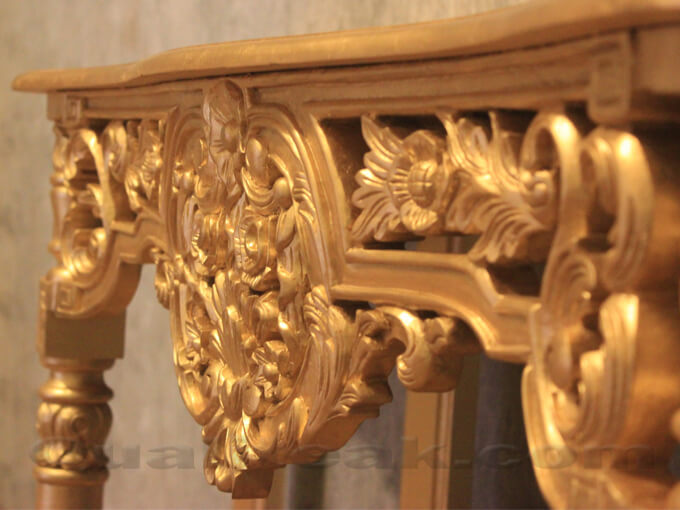 Antique Victorian Console Table With Gilded Carving Detail