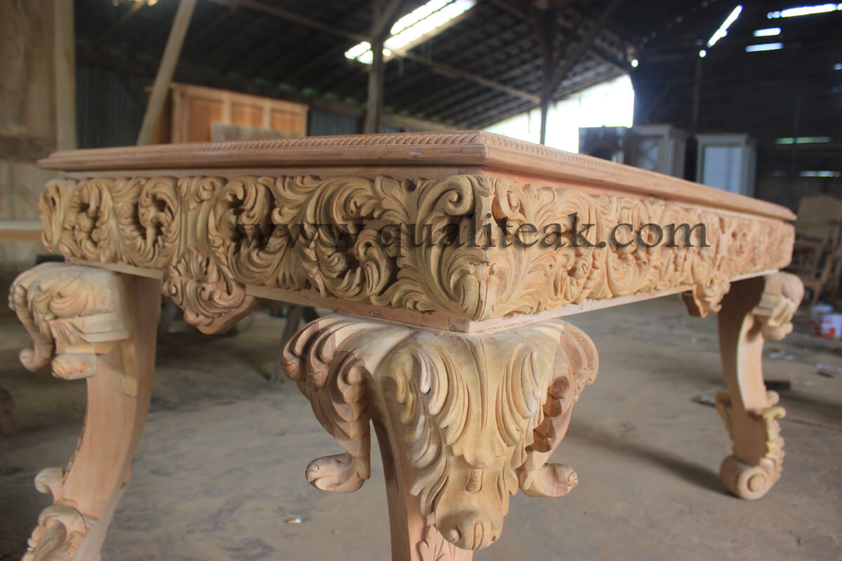 Heavily carved antique furniture baroque table unfinished details