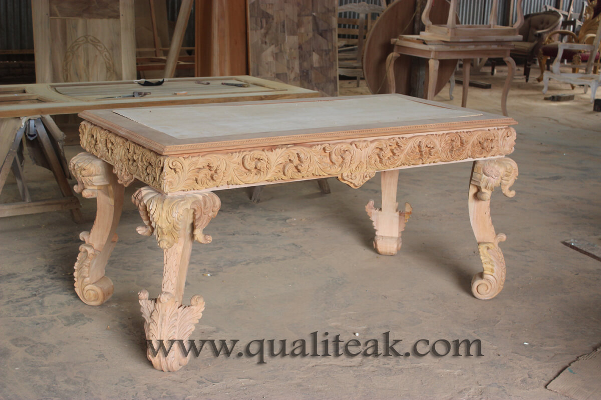 Heavily carved antique furniture baroque table unfinished