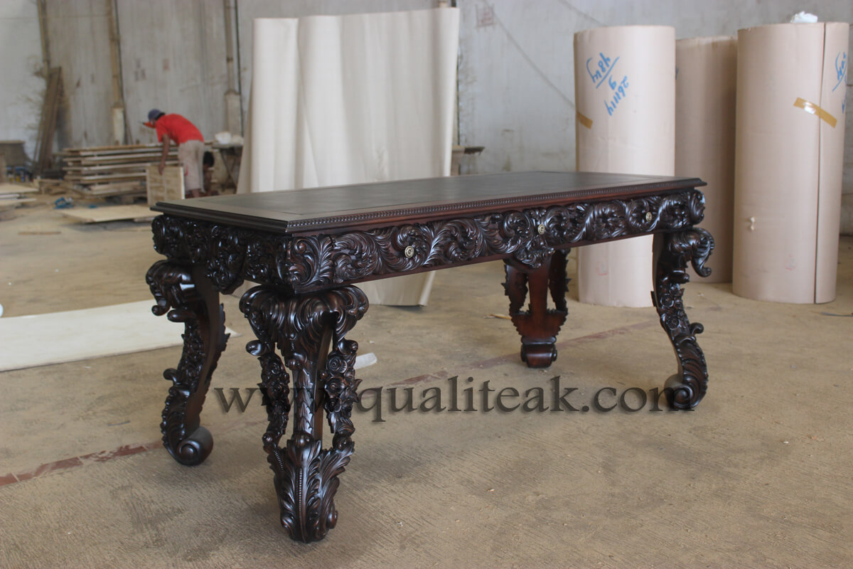 Heavily carved antique furniture baroque table