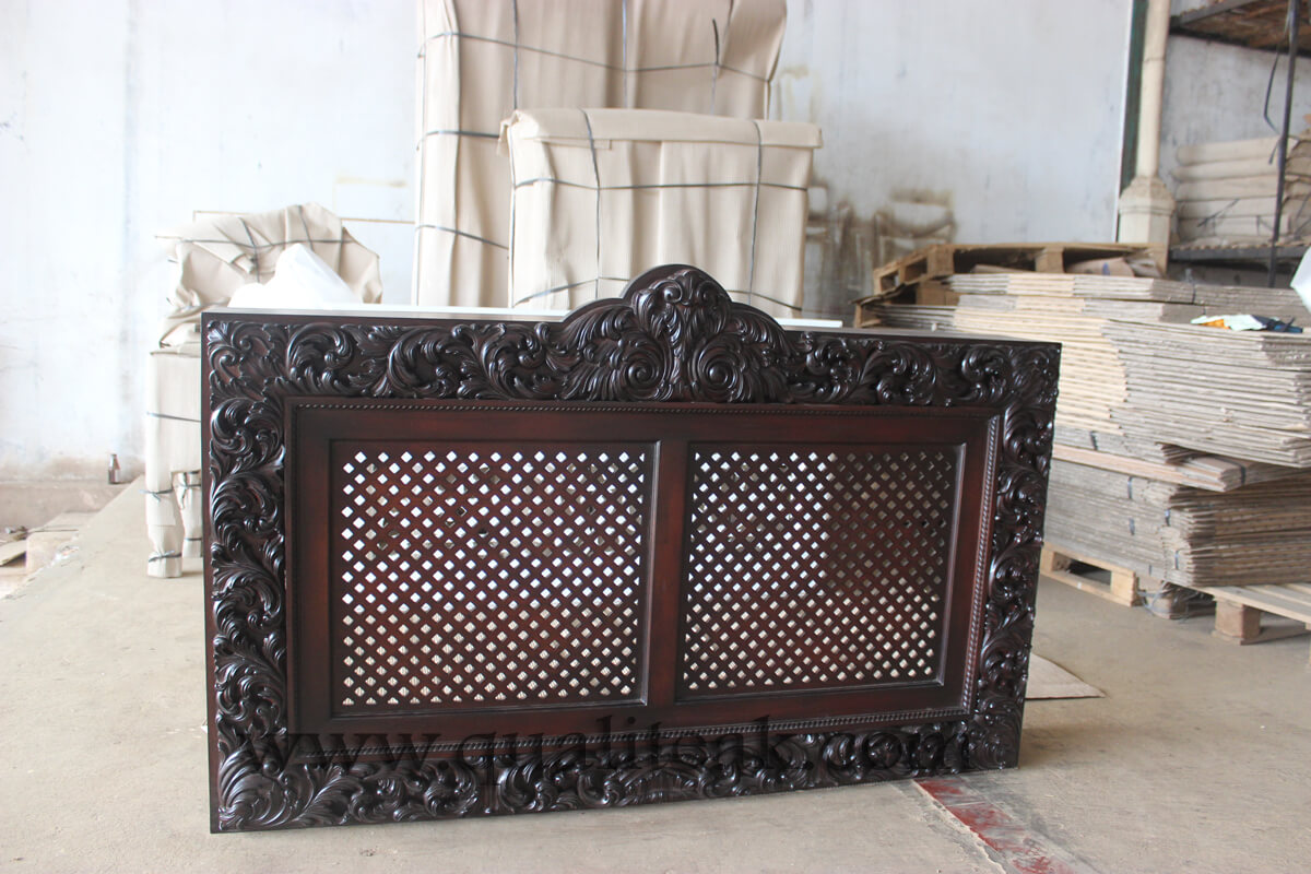 Heavily carved antique furniture headboards