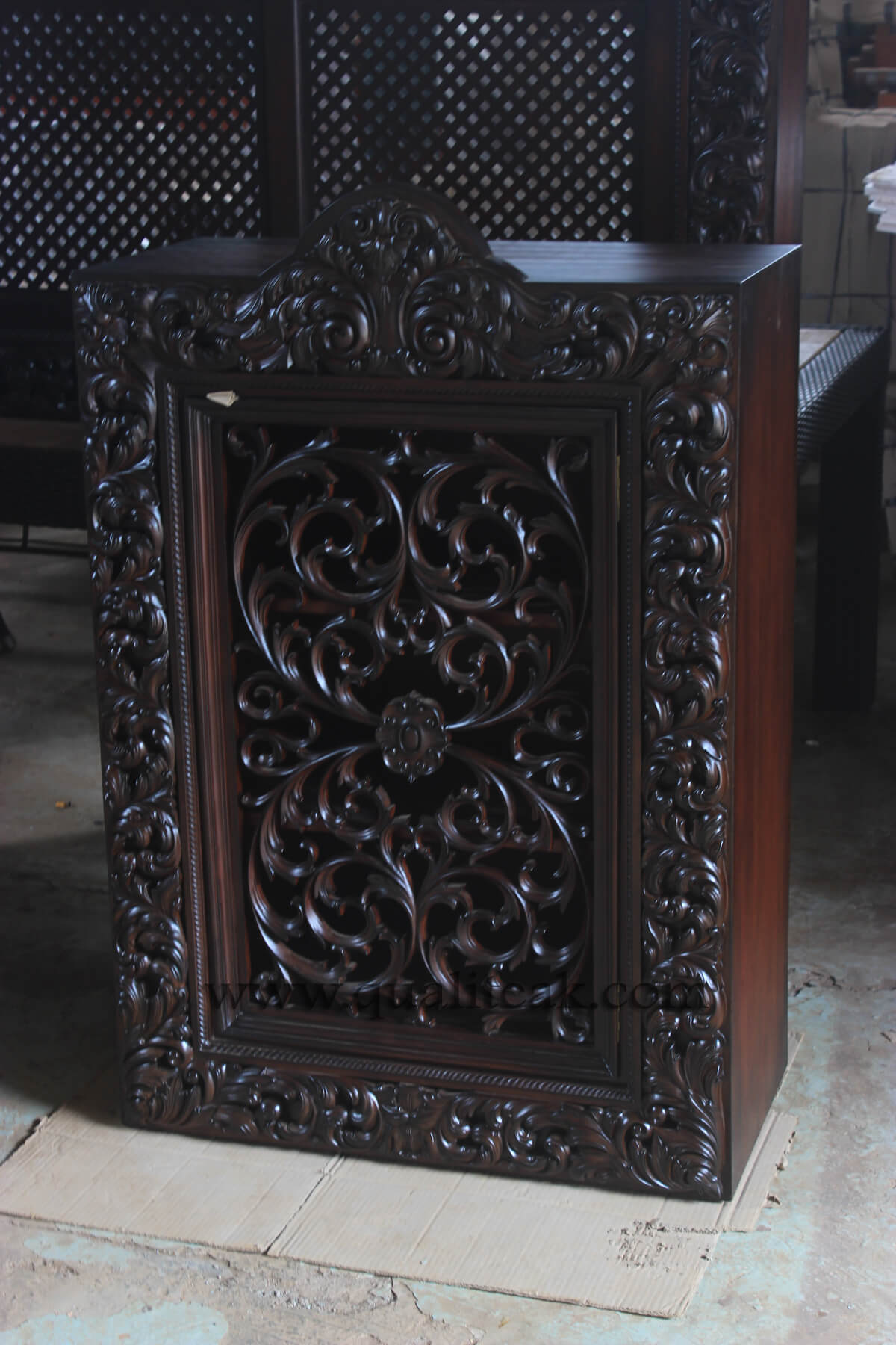 Heavily carved antique furniture jewelery box