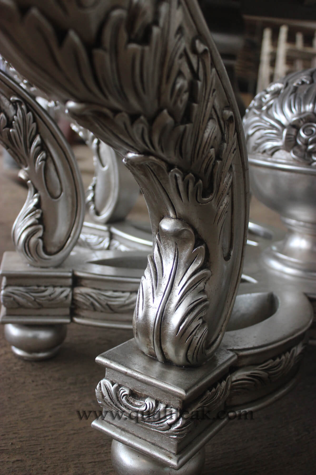 Heavily carved antique furniture round dining table details