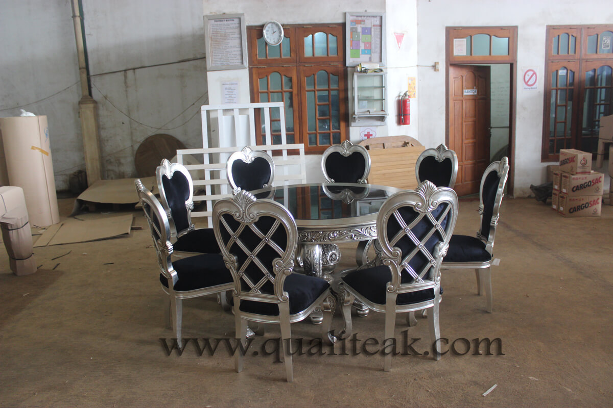 Heavily carved antique furniture round dining table sets