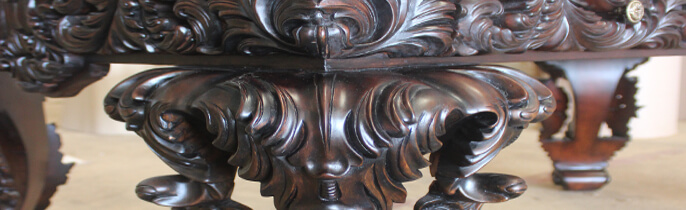 Heavily carved antique furniture for home