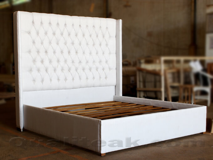 white painted bed with Upholstered high back