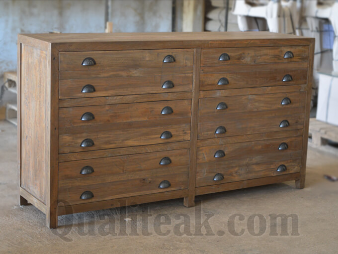 Teak Reclaimed Wood Chest Of Drawers Side
