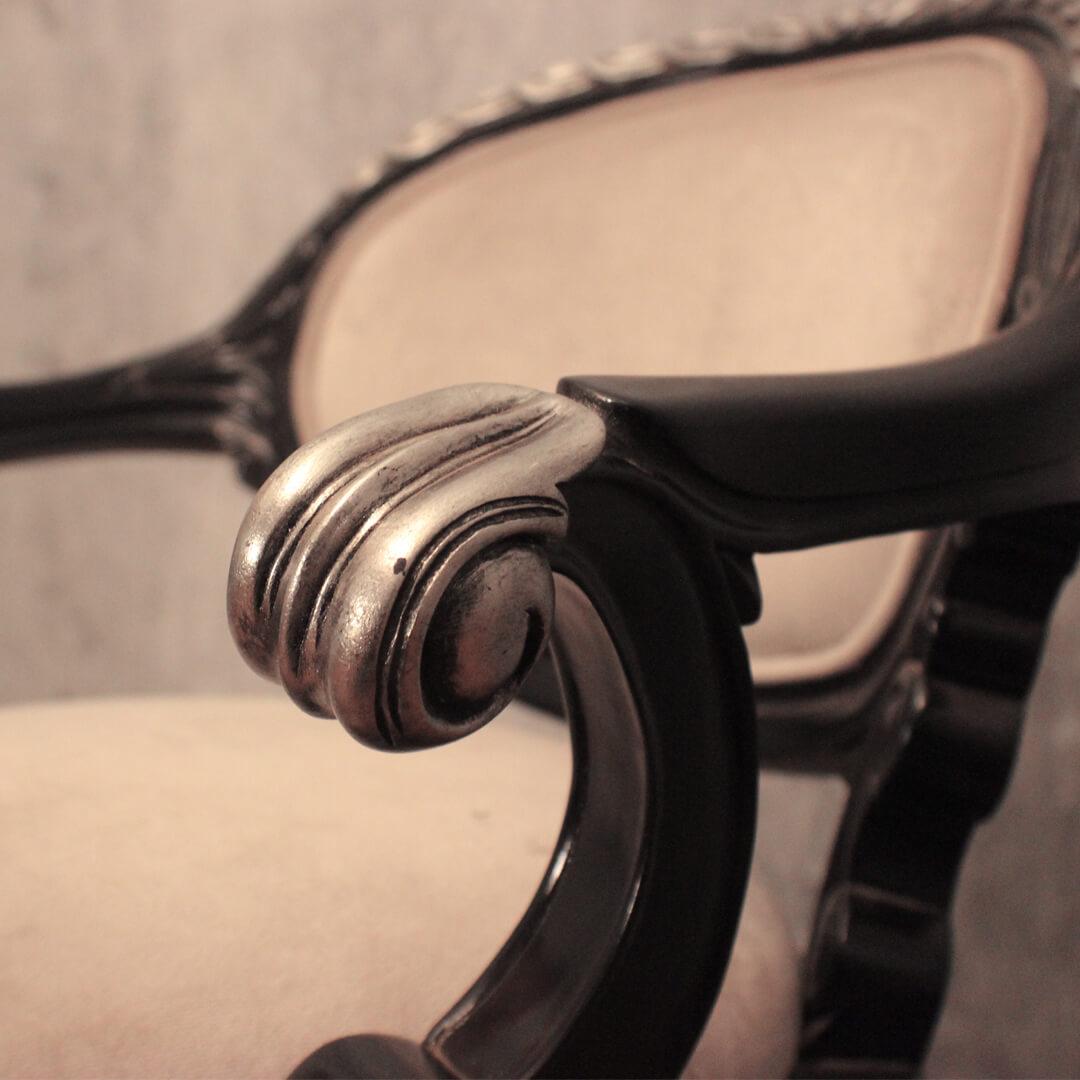 carved swivel bar stool detail
