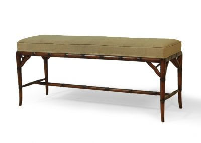 Antique Bamboo Style Bench With Rattan Weaving