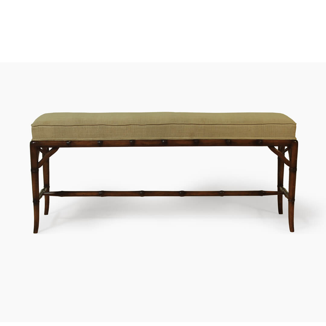 gustavian furniture bamboo style bench front view