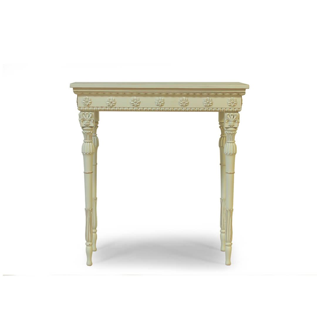 gustavian furniture carved bedside front view