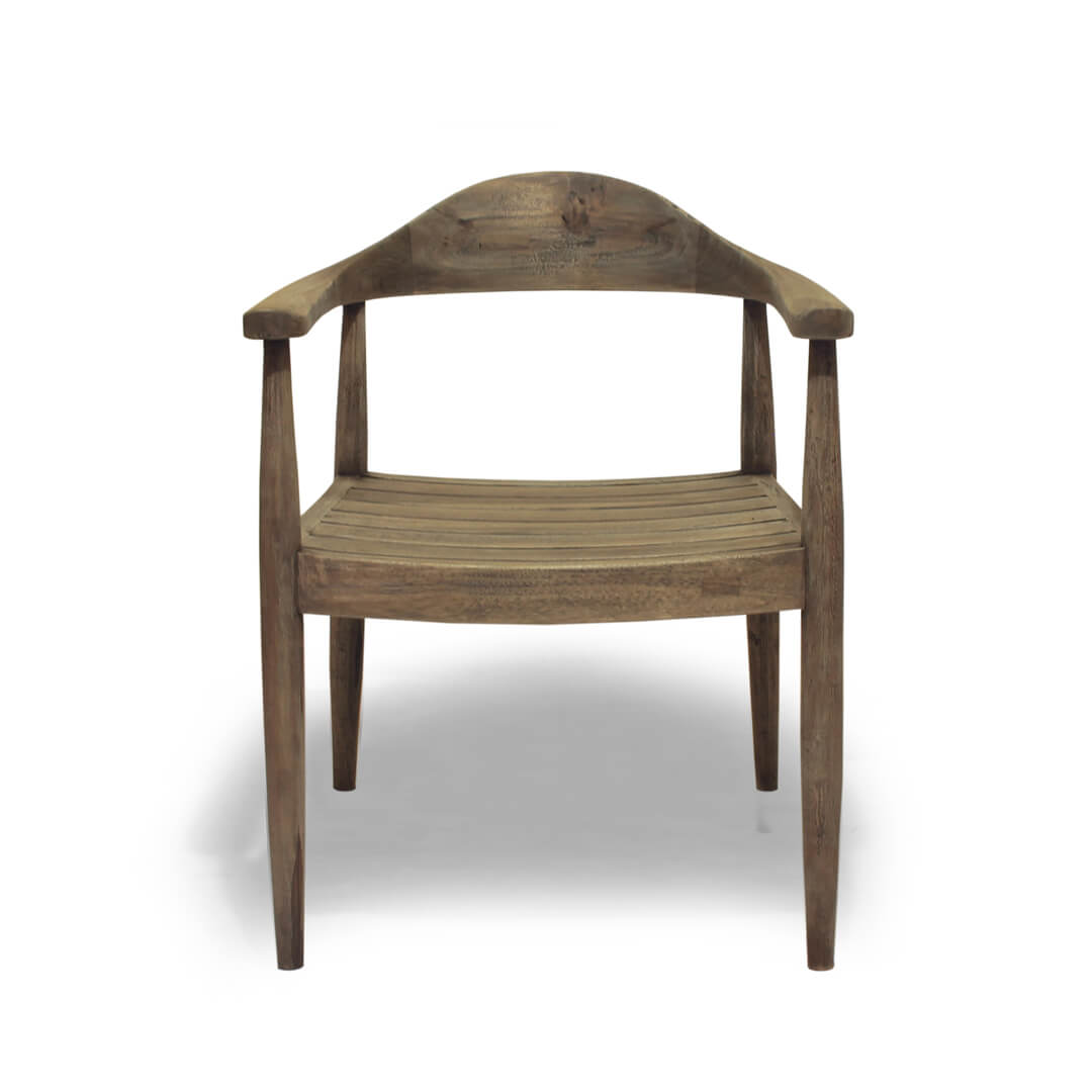 reclaimed teak wood dining chair front view