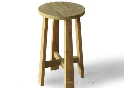 Teak Reclaimed Round Bar Stool