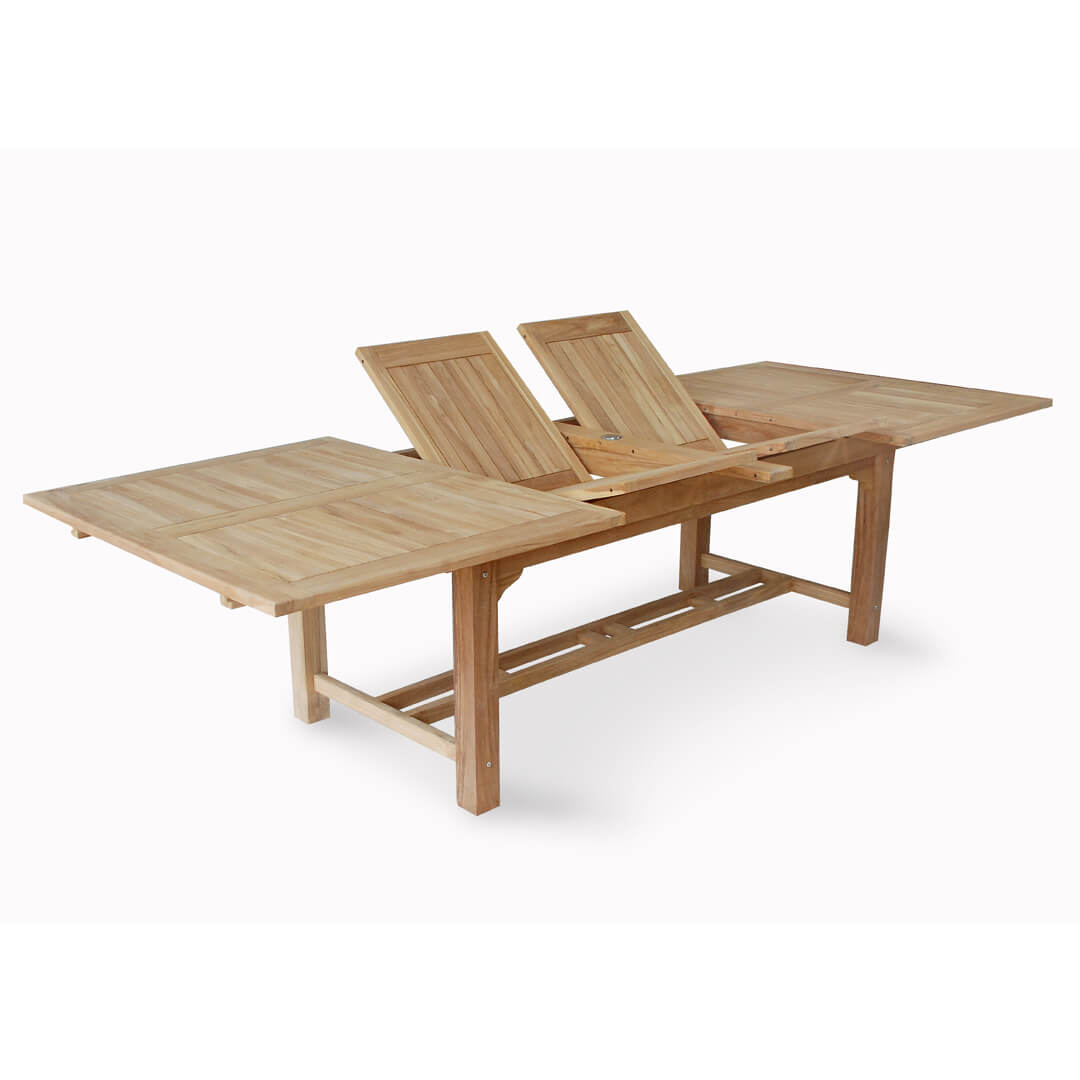 teak outdoor double extension table