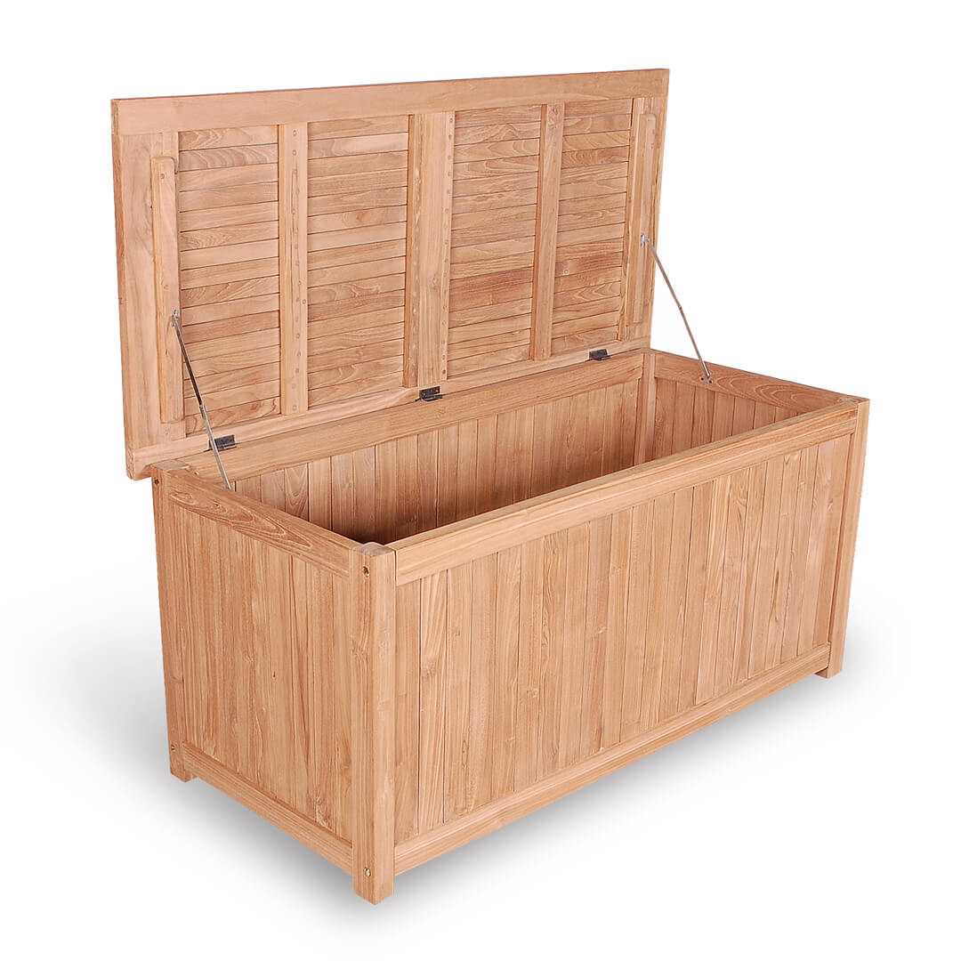 teak outdoor loundry box open