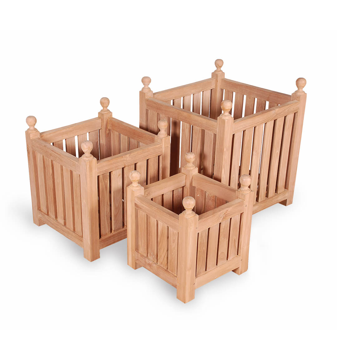teak outdoor planter box set