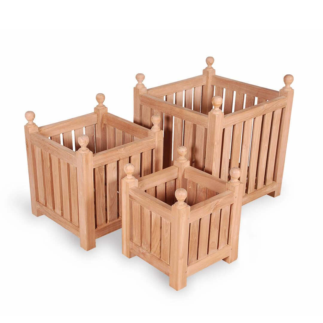 teak outdoor planter box set