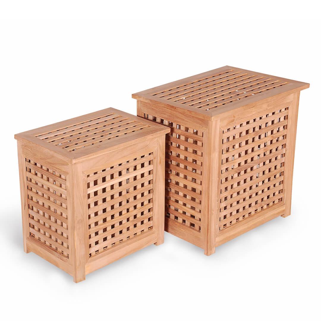 teak outdoor pool loundry box set
