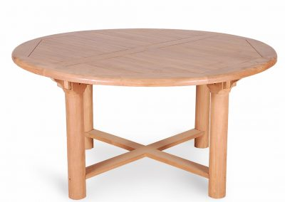 Teak Round Garden Table Chunky Legs