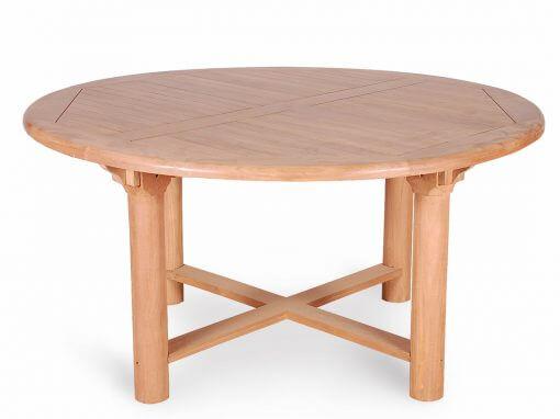Teak Round Garden Table Chunky Legs