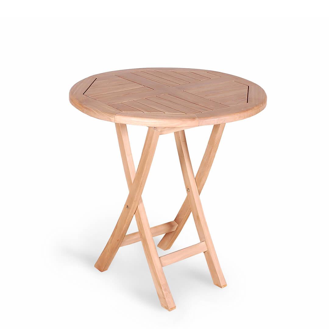 teak outdoor round folding table small