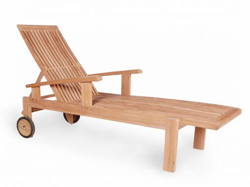 Teak Outdoor Sunlounger Straight Leg
